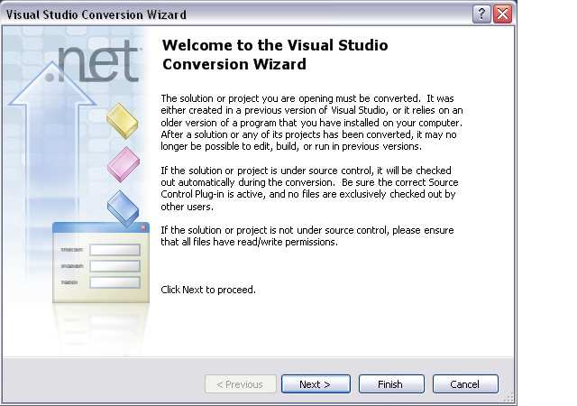 Visual Studio Convertion Wizard