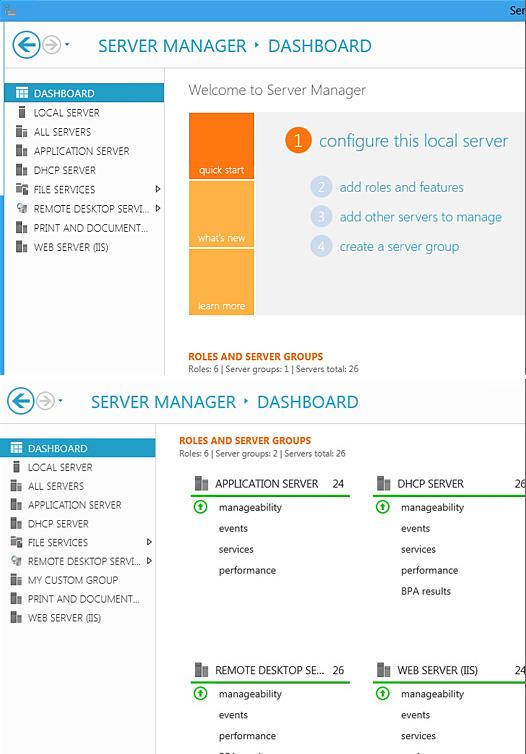 Server Manager Dashboard in Windows 8 Server