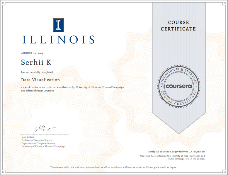 SoftElegance's employee gets the certificate Data Visualization University of Illinois applied to Big Data industry